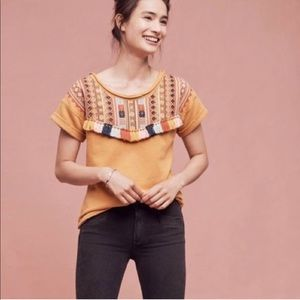 Anthropologie Chloe Oliver embroidered shirt